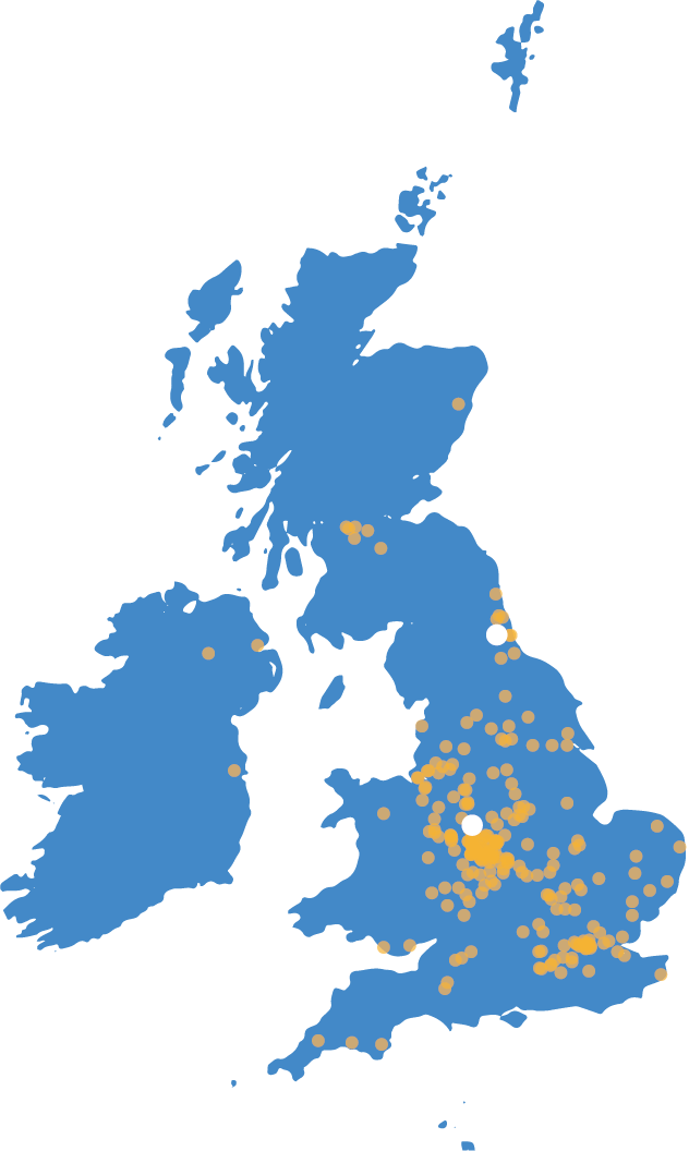 Map of Technology Management's office locations in the UK